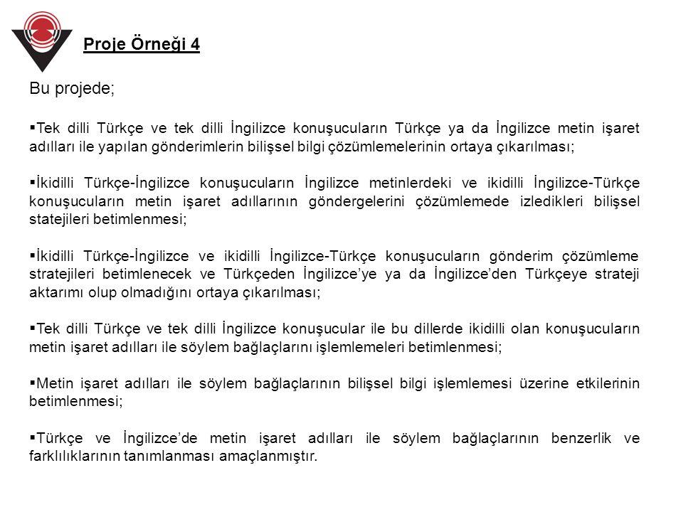 Bu projede;  Tek dilli Türkçe ve tek dilli İngilizce konuşucuların Türkçe ya da İngilizce metin işaret adılları ile yapılan gönderimlerin bilişsel bi