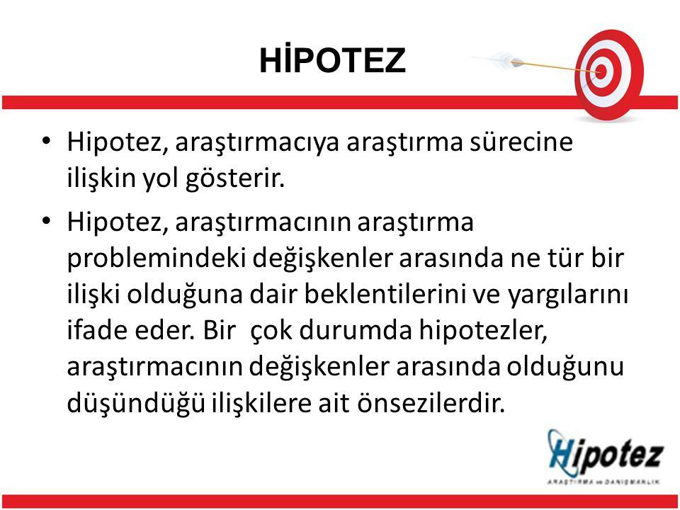 HİPOTEZ Hipotez, araştırmacıya araştırma sürecine ilişkin yol gösterir.