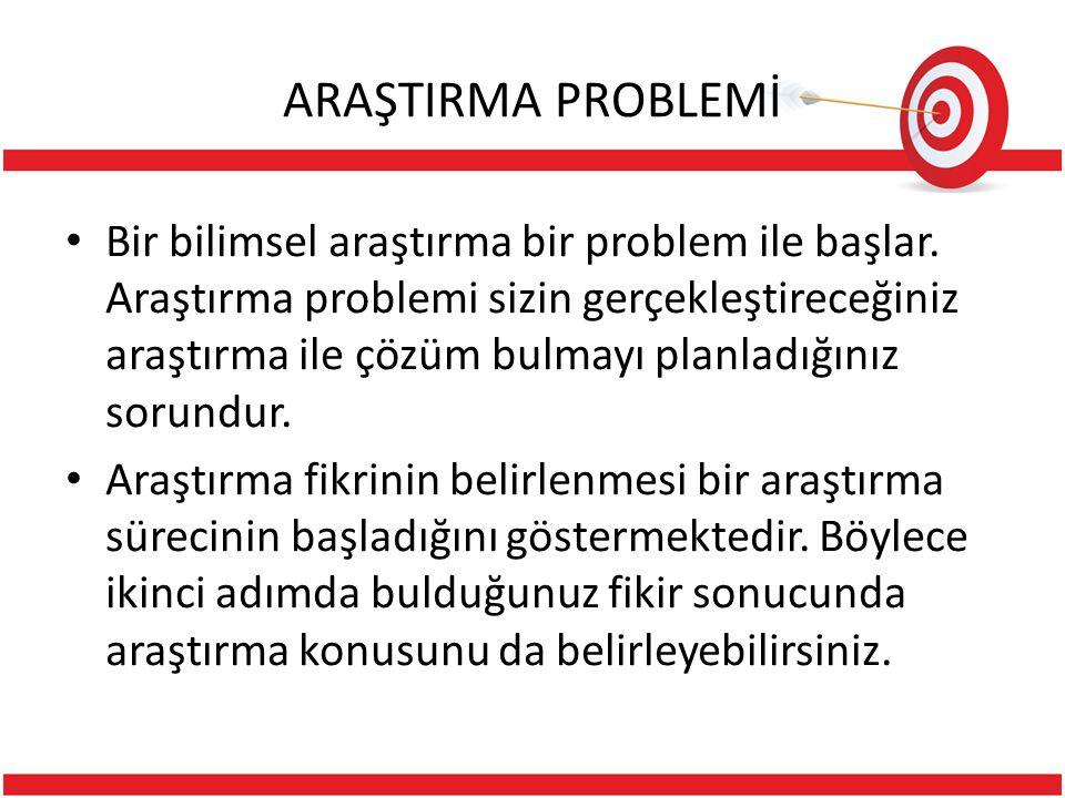 ARAŞTIRMA PROBLEMİ Bir bilimsel araştırma bir problem ile başlar.