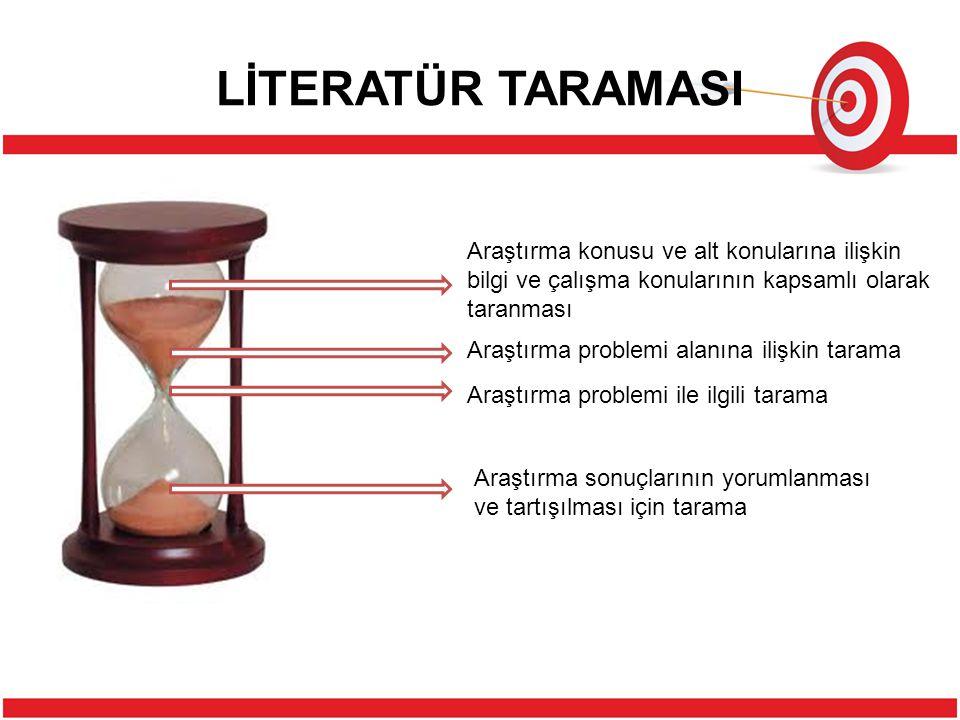 LİTERATÜR TARAMASI Literatür taramasını yapmak için farklı stratejiler bulunmaktadır.Öncelikle, araştırma konusuna ilişkin olan kelimelerin bir listesini çıkarmamız yararlı olacaktır.