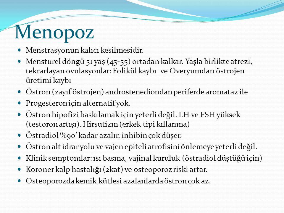 Menopoz Menstrasyonun kalıcı kesilmesidir. Mensturel döngü 51 yaş (45-55) ortadan kalkar. Yaşla birlikte atrezi, tekrarlayan ovulasyonlar: Folikül kay