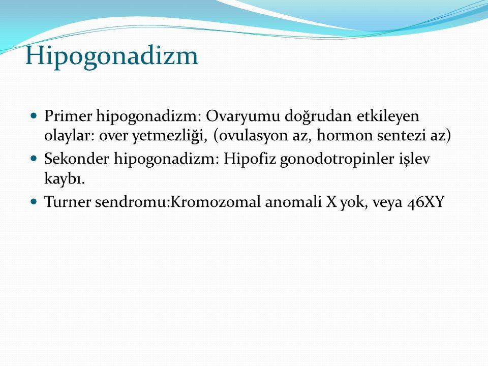 Hipogonadizm Primer hipogonadizm: Ovaryumu doğrudan etkileyen olaylar: over yetmezliği, (ovulasyon az, hormon sentezi az) Sekonder hipogonadizm: Hipof
