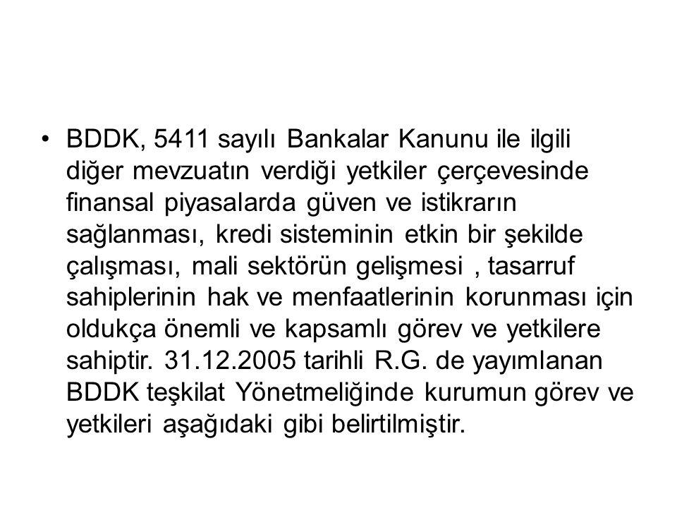 BDDK, 5411 sayılı Bankalar Kanunu ile ilgili diğer mevzuatın verdiği yetkiler çerçevesinde finansal piyasalarda güven ve istikrarın sağlanması, kredi sisteminin etkin bir şekilde çalışması, mali sektörün gelişmesi, tasarruf sahiplerinin hak ve menfaatlerinin korunması için oldukça önemli ve kapsamlı görev ve yetkilere sahiptir.