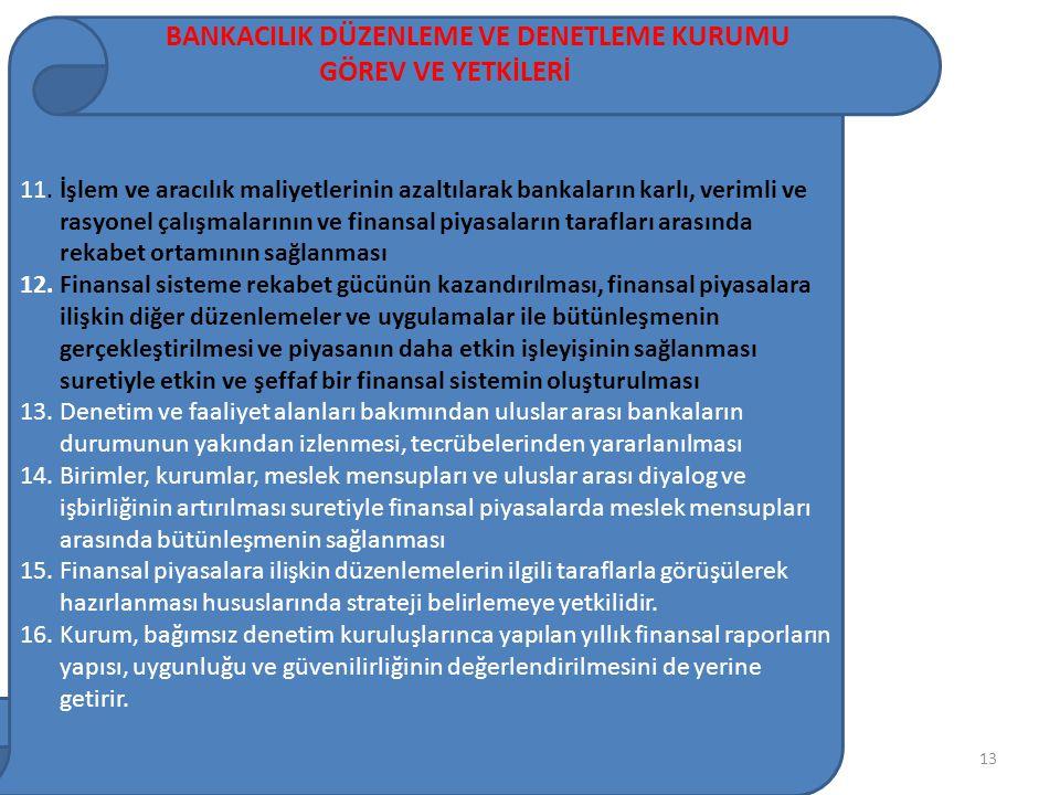 13 BANKACILIK DÜZENLEME VE DENETLEME KURUMU GÖREV VE YETKİLERİ 11.İşlem ve aracılık maliyetlerinin azaltılarak bankaların karlı, verimli ve rasyonel çalışmalarının ve finansal piyasaların tarafları arasında rekabet ortamının sağlanması 12.