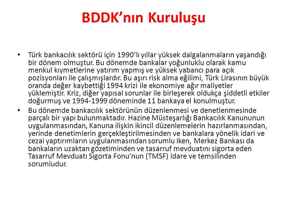 BDDK'nın Kuruluşu Türk bankacılık sektörü için 1990'lı yıllar yüksek dalgalanmaların yaşandığı bir dönem olmuştur.
