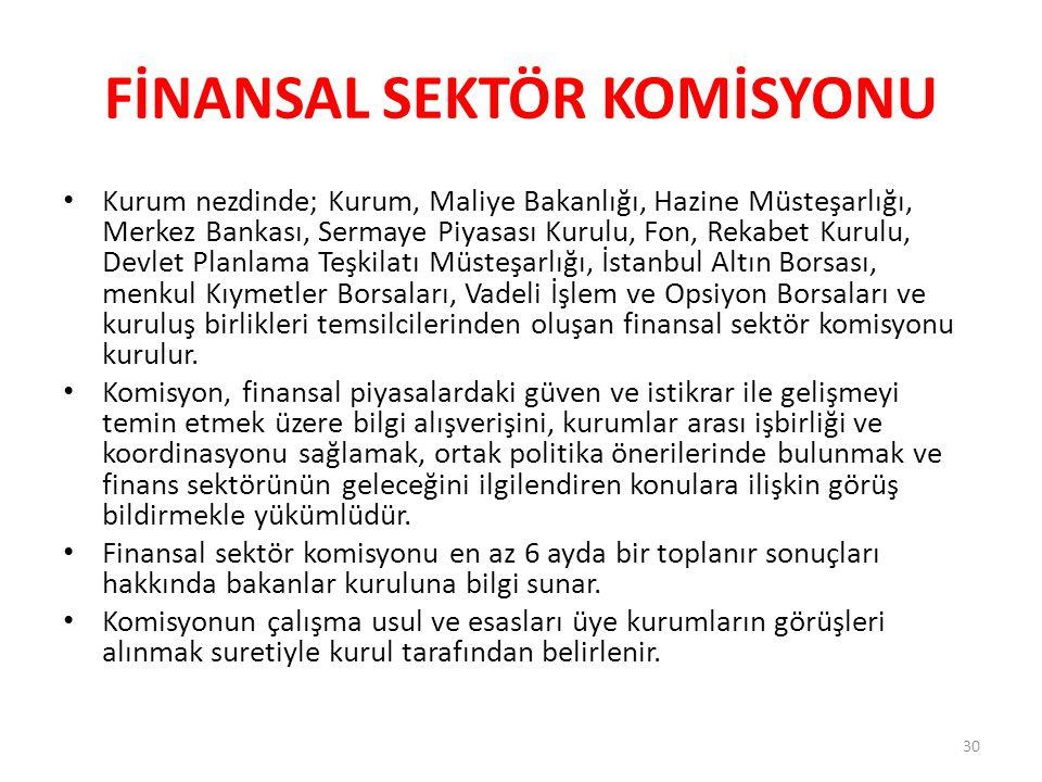 FİNANSAL SEKTÖR KOMİSYONU Kurum nezdinde; Kurum, Maliye Bakanlığı, Hazine Müsteşarlığı, Merkez Bankası, Sermaye Piyasası Kurulu, Fon, Rekabet Kurulu, Devlet Planlama Teşkilatı Müsteşarlığı, İstanbul Altın Borsası, menkul Kıymetler Borsaları, Vadeli İşlem ve Opsiyon Borsaları ve kuruluş birlikleri temsilcilerinden oluşan finansal sektör komisyonu kurulur.
