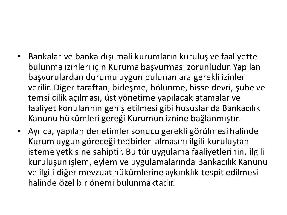 Bankalar ve banka dışı mali kurumların kuruluş ve faaliyette bulunma izinleri için Kuruma başvurması zorunludur.