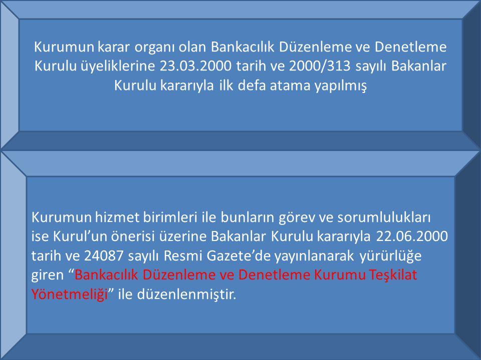 7 Kurum daha önce Hazine Müsteşarlığı ve TCMB bünyesinde bulunan, bankacılık sektörünün gözetim ve denetiminden sorumlu kamu birimlerinin yanı sıra Devlet Planlama Teşkilatı Müsteşarlığı ve Maliye Bakanlığı'ndan naklen atama yoluyla görevlendirilen personeli de bünyesinde bir araya getirerek 31.08.2000 tarihinden itibaren Ankara'daki merkez binasında faaliyete geçmiştir.
