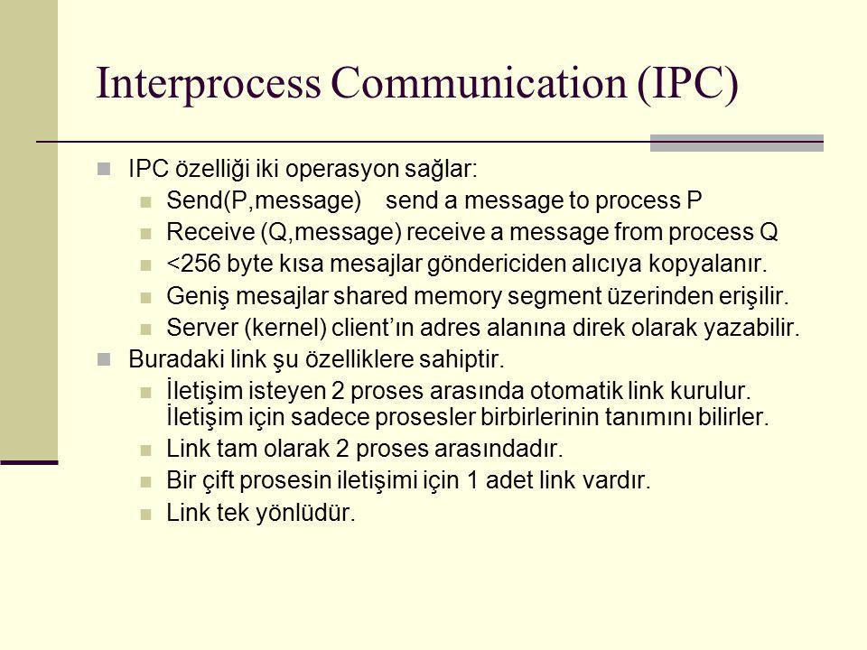 Interprocess Communication (IPC) IPC özelliği iki operasyon sağlar: Send(P,message) send a message to process P Receive (Q,message) receive a message from process Q <256 byte kısa mesajlar göndericiden alıcıya kopyalanır.