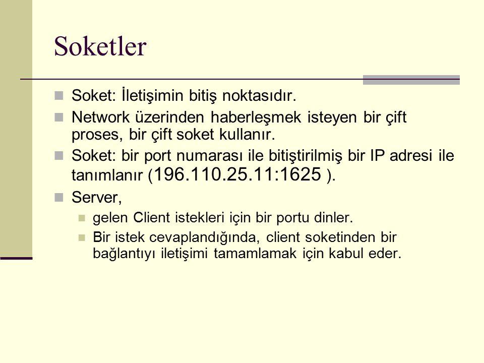Soketler Soket: İletişimin bitiş noktasıdır. Network üzerinden haberleşmek isteyen bir çift proses, bir çift soket kullanır. Soket: bir port numarası
