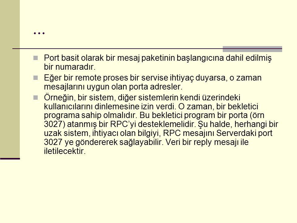 ... Port basit olarak bir mesaj paketinin başlangıcına dahil edilmiş bir numaradır. Eğer bir remote proses bir servise ihtiyaç duyarsa, o zaman mesajl
