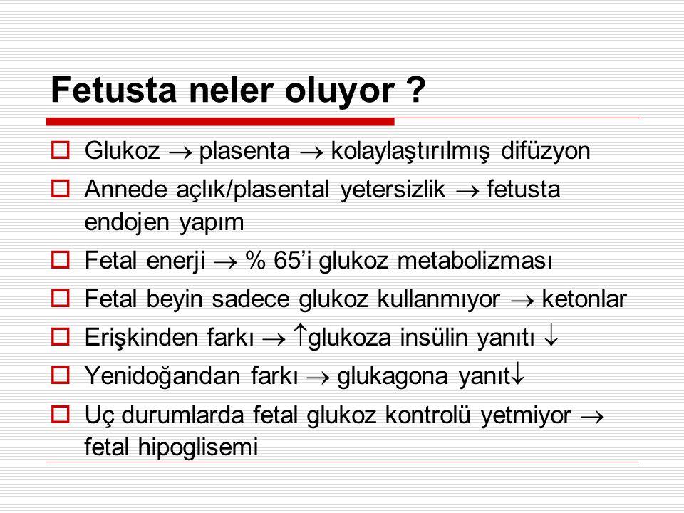 Tedavide kullanılan diğer ilaçlar  Hiperinsülinizm: Glukagon Diazoksit Klorotiyazid Octreotid Ca kanal blokeri (nifedipin)  İUBG Glukagon  Adrenokortikal yetersizlik Hidrokortizon