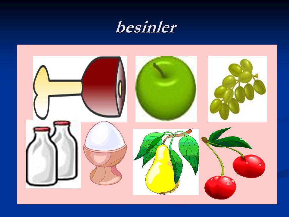 Besinleri elde edildikleri kaynaklara göre gruplayalım besinler Hayvansal besinler Et,süt,yumurta Bitkisel besinler sezeler ve meyveler Madensel besin