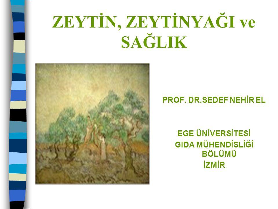 ZEYTİN, ZEYTİNYAĞI ve SAĞLIK PROF. DR.SEDEF NEHİR EL EGE ÜNİVERSİTESİ GIDA MÜHENDİSLİĞİ BÖLÜMÜ İZMİR