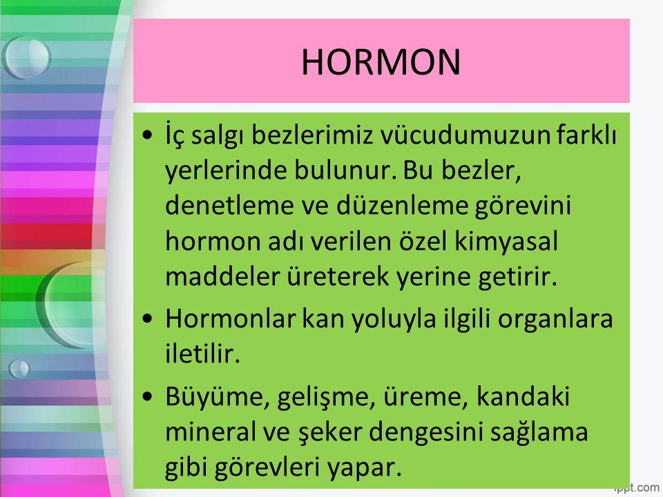 HORMON İç salgı bezlerimiz vücudumuzun farklı yerlerinde bulunur. Bu bezler, denetleme ve düzenleme görevini hormon adı verilen özel kimyasal maddeler
