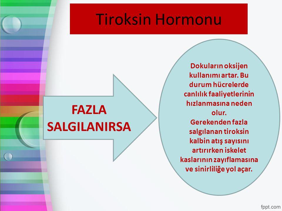 Tiroksin Hormonu FAZLA SALGILANIRSA Dokuların oksijen kullanımı artar. Bu durum hücrelerde canlılık faaliyetlerinin hızlanmasına neden olur. Gerekende