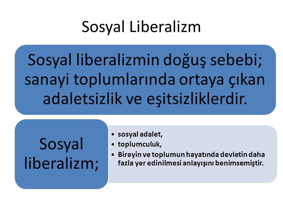 Sosyal Liberalizm Sosyal liberalizmin doğuş sebebi; sanayi toplumlarında ortaya çıkan adaletsizlik ve eşitsizliklerdir. sosyal adalet, toplumculuk, Bi