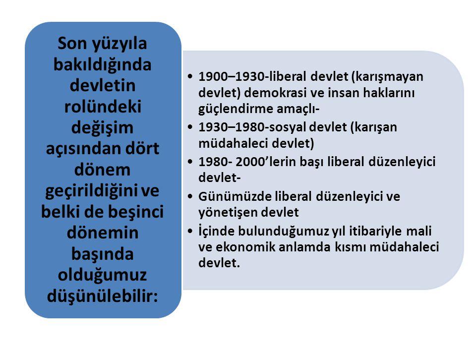 1900–1930-liberal devlet (karışmayan devlet) demokrasi ve insan haklarını güçlendirme amaçlı- 1930–1980-sosyal devlet (karışan müdahaleci devlet) 1980