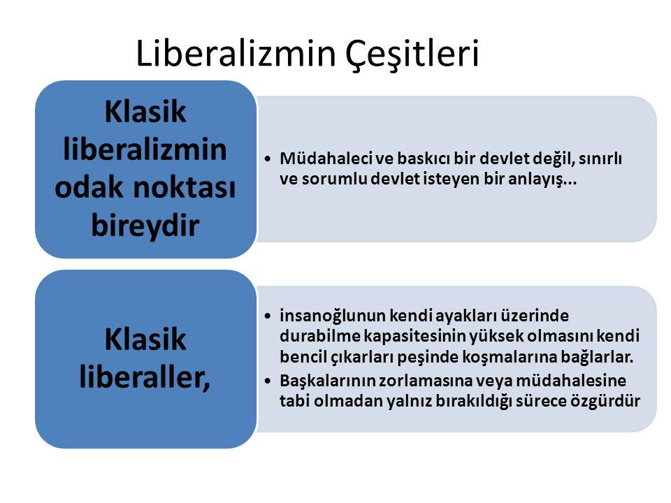 Liberalizmin Çeşitleri Müdahaleci ve baskıcı bir devlet değil, sınırlı ve sorumlu devlet isteyen bir anlayış... Klasik liberalizmin odak noktası birey