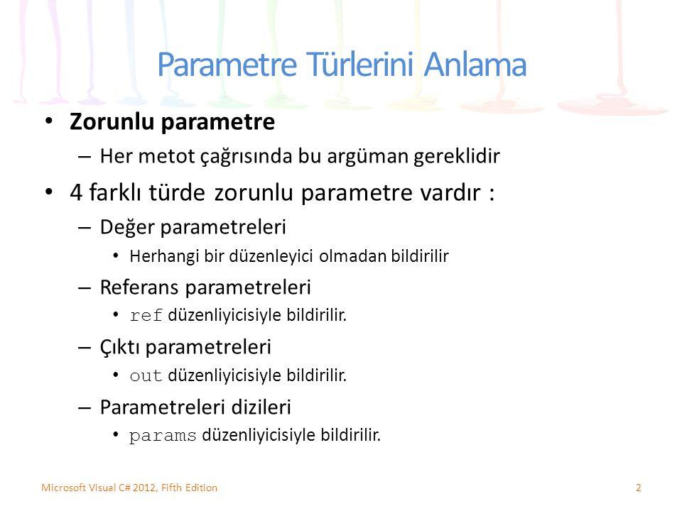 Parametre Türlerini Anlama Zorunlu parametre – Her metot çağrısında bu argüman gereklidir 4 farklı türde zorunlu parametre vardır : – Değer parametrel