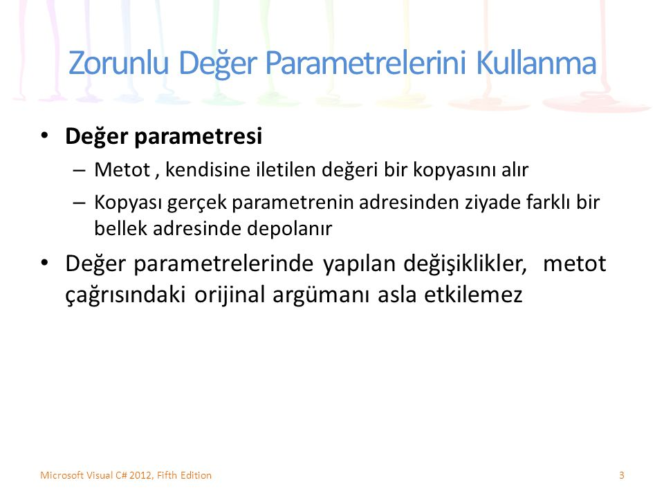 Zorunlu Değer Parametrelerini Kullanma Değer parametresi – Metot, kendisine iletilen değeri bir kopyasını alır – Kopyası gerçek parametrenin adresinde