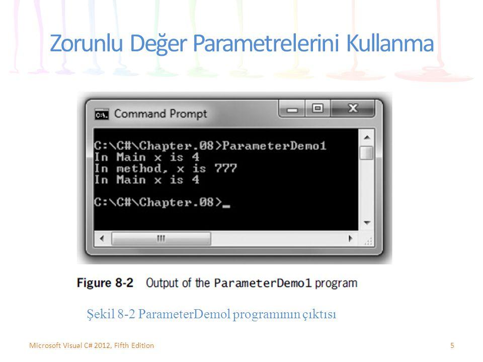5Microsoft Visual C# 2012, Fifth Edition Zorunlu Değer Parametrelerini Kullanma Şekil 8-2 ParameterDemol programının çıktısı