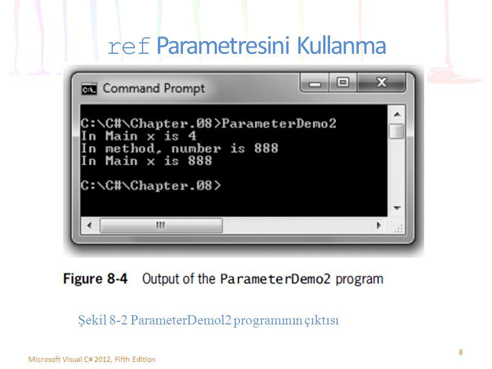 ref Parametresini Kullanma 8 Microsoft Visual C# 2012, Fifth Edition Şekil 8-2 ParameterDemol2 programının çıktısı