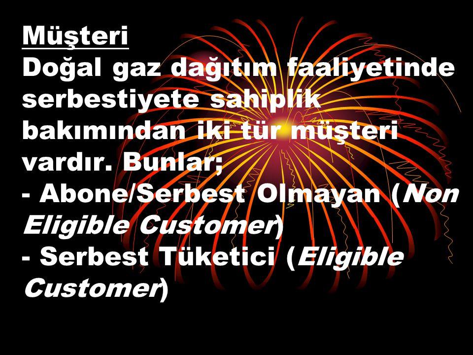 Müşteri Doğal gaz dağıtım faaliyetinde serbestiyete sahiplik bakımından iki tür müşteri vardır. Bunlar; - Abone/Serbest Olmayan (Non Eligible Customer