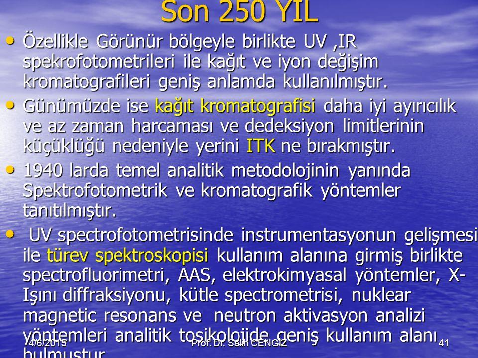 Son 250 YIL Özellikle Görünür bölgeyle birlikte UV,IR spekrofotometrileri ile kağıt ve iyon değişim kromatografileri geniş anlamda kullanılmıştır. Öze