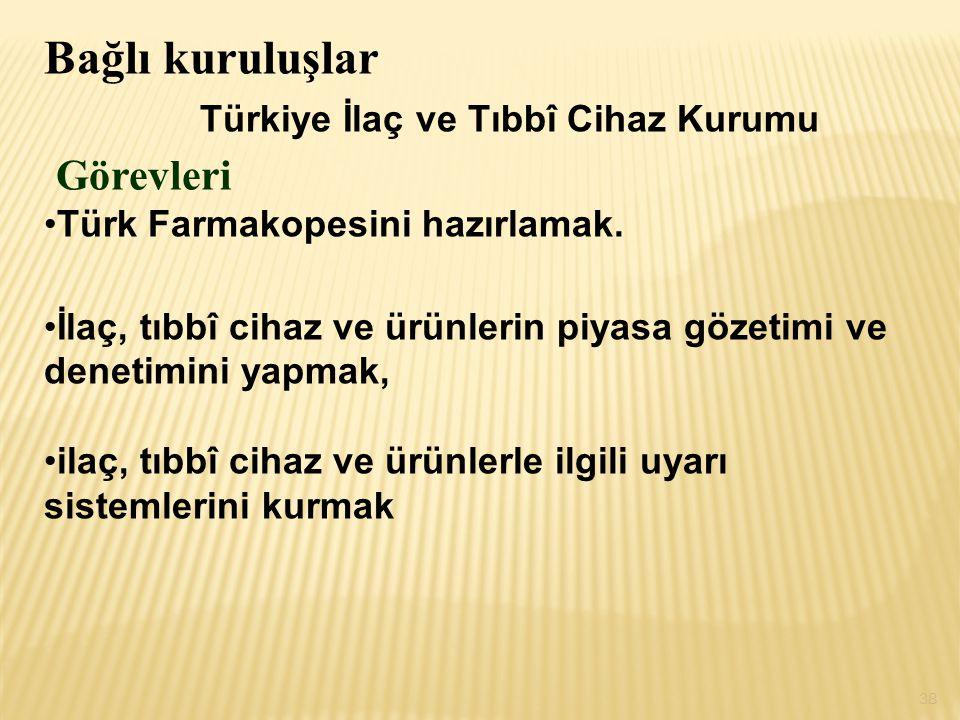 Bağlı kuruluşlar Türkiye İlaç ve Tıbbî Cihaz Kurumu Görevleri Türk Farmakopesini hazırlamak. İlaç, tıbbî cihaz ve ürünlerin piyasa gözetimi ve denetim