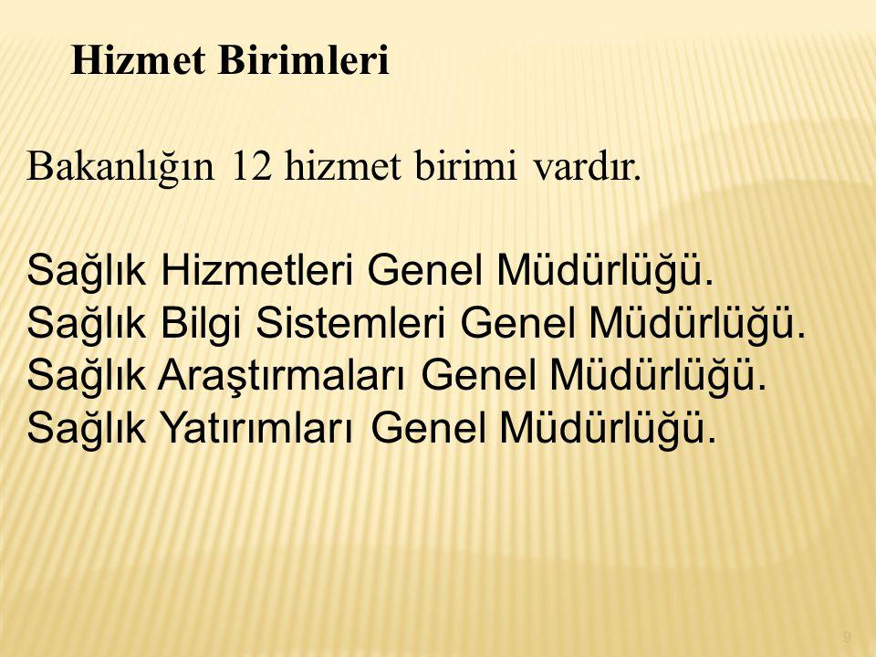 Hizmet Birimleri Bakanlığın 12 hizmet birimi vardır.