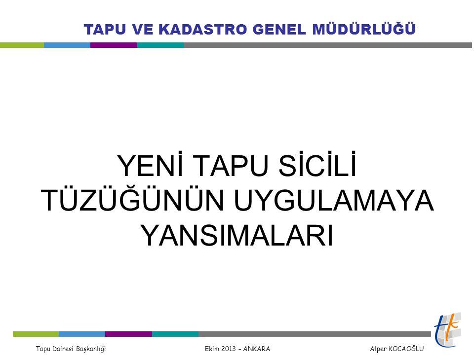 Tapu Dairesi Başkanlığı Ekim 2013 – ANKARA Alper KOCAOĞLU TAPU VE KADASTRO GENEL MÜDÜRLÜĞÜ Hataların Düzeltilmesi