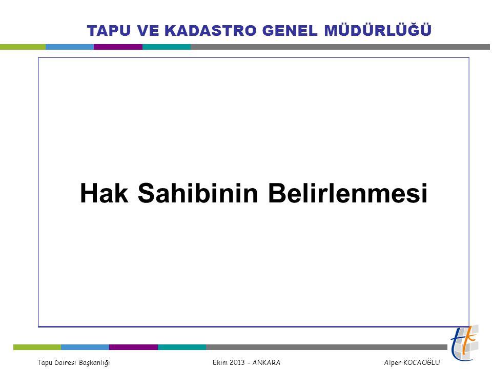 Tapu Dairesi Başkanlığı Ekim 2013 – ANKARA Alper KOCAOĞLU TAPU VE KADASTRO GENEL MÜDÜRLÜĞÜ Madde 20 – (1) d) Cebri icra veya ortaklığın giderilmesi yoluyla yapılan satışlarda; gerçek kişi ihale alıcısının Türkiye Cumhuriyeti kimlik numaralı nüfus bilgilerini ve fotoğrafını içeren, tüzel kişi ihale alıcılarında ise kanunlarda yazılı mercilerden alınmış yetki belgesi ile birlikte ihale alıcısı tüzel kişiliğin unvanını içeren ihalenin kesinleştiğini ve tescili belirten yetkili merciin yazısı, g) Devlet veya kamu kurumlarınca taşınmazın tahsis veya devir yoluyla dağıtımında; ilgili kanuna uygun şekilde yetkili mercilerce verilen karar, Türkiye Cumhuriyeti kimlik numarasını ve diğer kimlik bilgilerini içerir dağıtım cetvelleri, ğ) Arazi toplulaştırmalarında; yetkili mercilerce onanan kesinleşmiş toplulaştırma planları, Türkiye Cumhuriyeti kimlik numarasını ve diğer kimlik bilgilerini içerir dağıtım cetvelleri, h) Kooperatiflerin ferdileşme işlemlerinde; üyelerin Türkiye Cumhuriyeti kimlik numarasını ve diğer kimlik bilgilerini içerir liste,