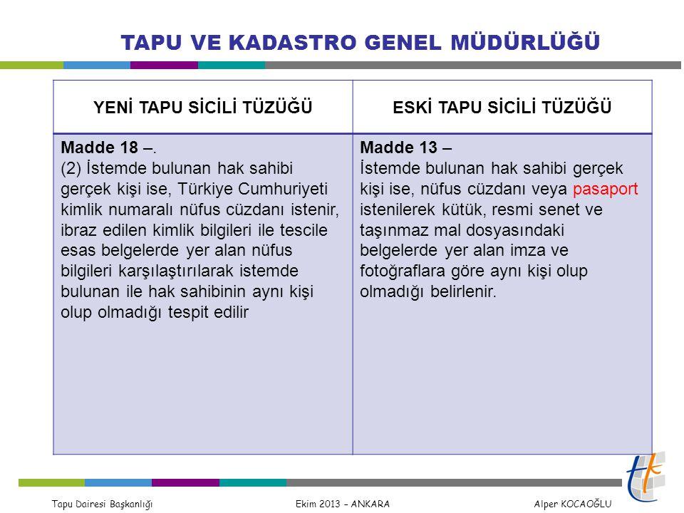 Tapu Dairesi Başkanlığı Ekim 2013 – ANKARA Alper KOCAOĞLU TAPU VE KADASTRO GENEL MÜDÜRLÜĞÜ Madde 16 - (4) Tapu sicilinde yapılacak haciz dahil her türlü kayıt sorgulaması istemlerinde, Türkiye Cumhuriyeti kimlik numarası veya taşınmazın ada ve parsel numarasının belirtilmesi zorunludur.
