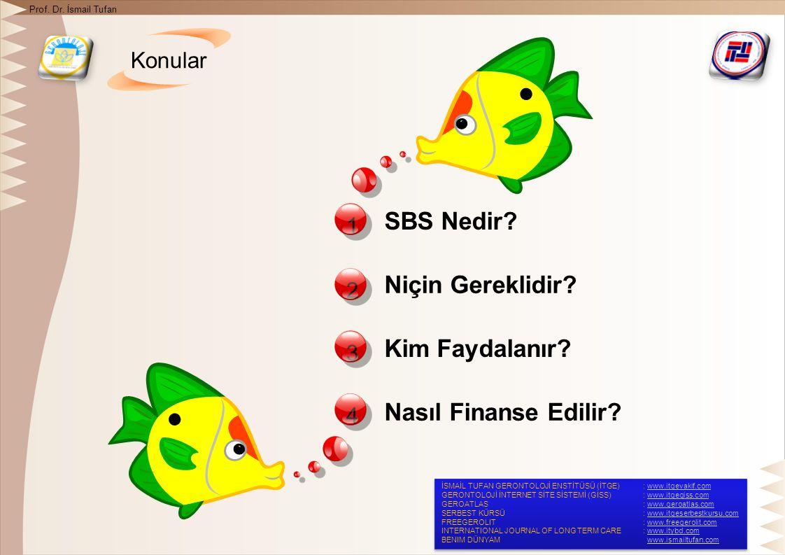 Konular Prof. Dr. İsmail Tufan 1 SBS Nedir. 2 Niçin Gereklidir.