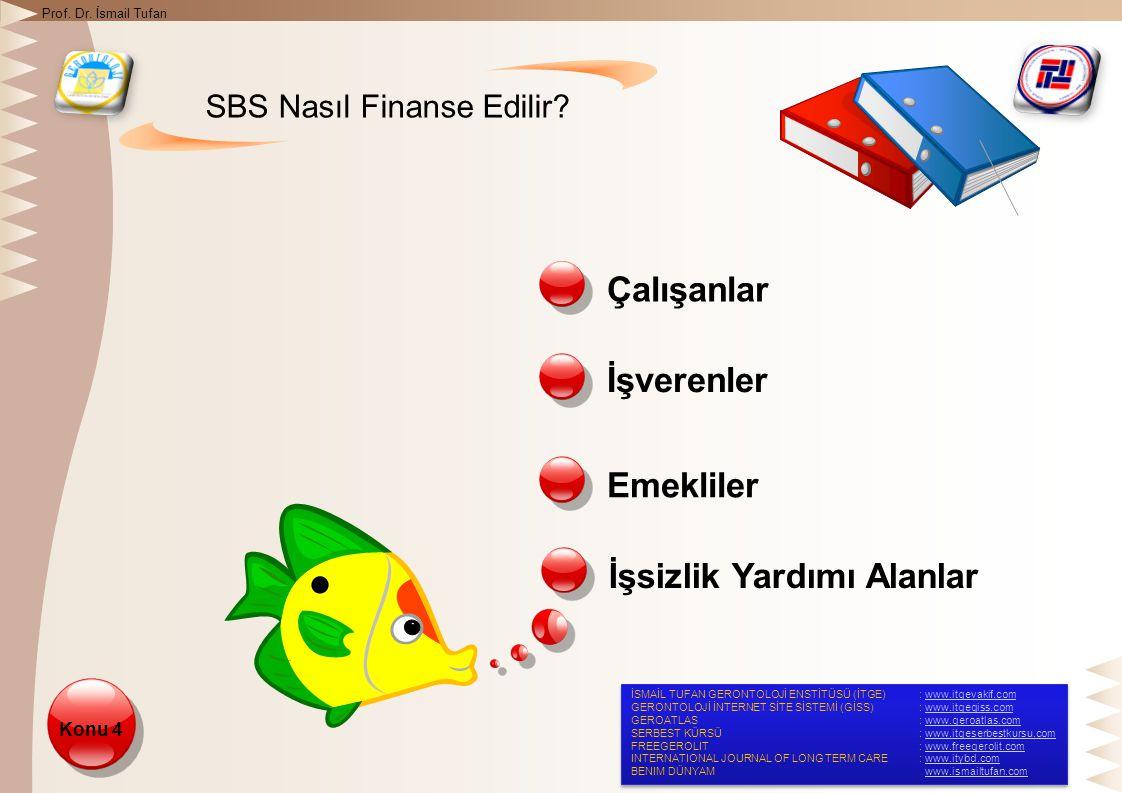 SBS Nasıl Finanse Edilir. Çalışanlar İşverenler Konu 4 Emekliler İşsizlik Yardımı Alanlar Prof.