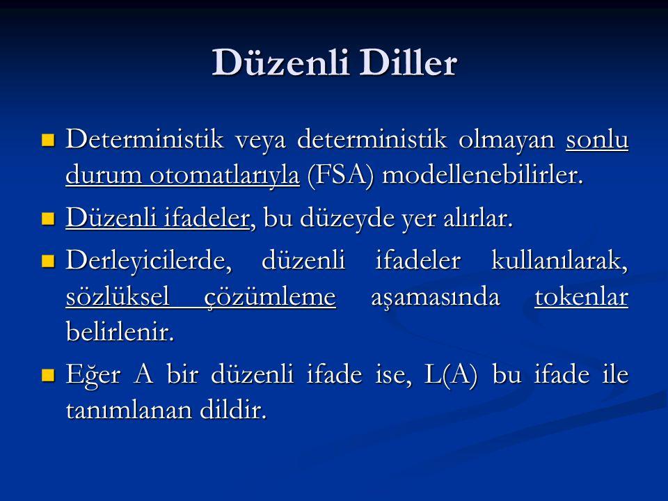 Düzenli Diller Deterministik veya deterministik olmayan sonlu durum otomatlarıyla (FSA) modellenebilirler. Deterministik veya deterministik olmayan so