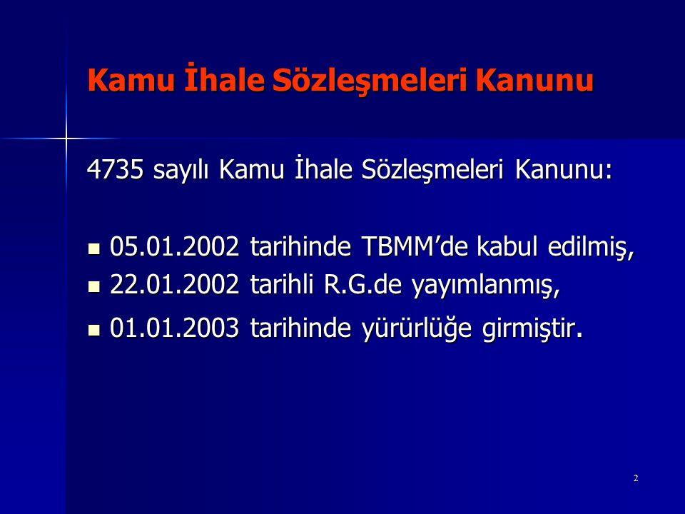 Kamu İhale Sözleşmeleri Kanunu 4735 sayılı Kamu İhale Sözleşmeleri Kanununu, 30.07.2003 tarih ve 4964 sayılı Kanunla bazı hükümleri değiştirilmiştir.