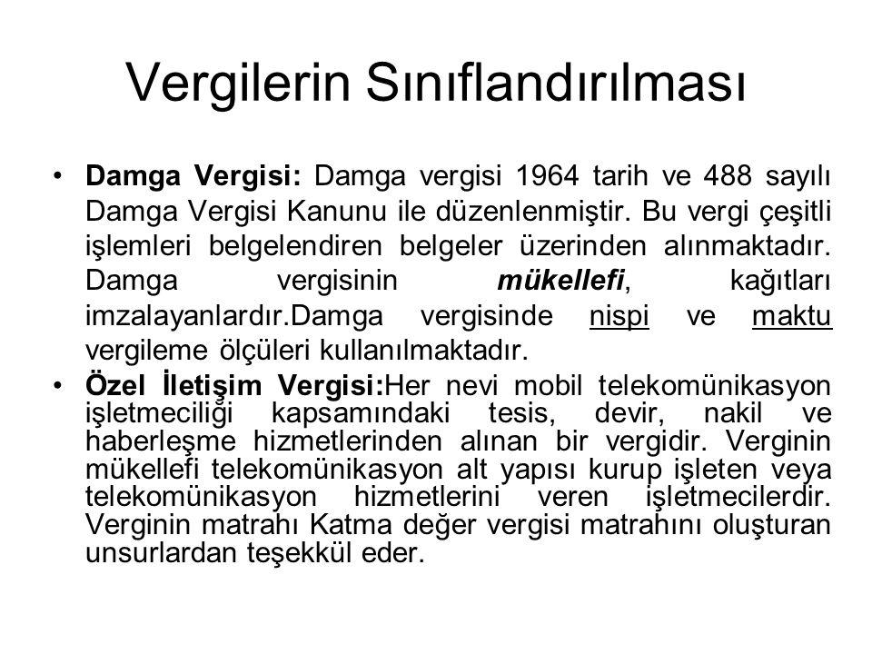 Vergilerin Sınıflandırılması Damga Vergisi: Damga vergisi 1964 tarih ve 488 sayılı Damga Vergisi Kanunu ile düzenlenmiştir. Bu vergi çeşitli işlemleri