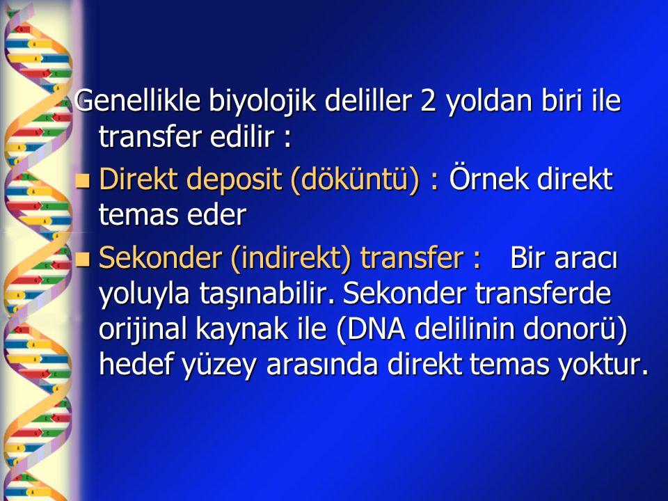 Genellikle biyolojik deliller 2 yoldan biri ile transfer edilir : Direkt deposit (döküntü) : Örnek direkt temas eder Direkt deposit (döküntü) : Örnek direkt temas eder Sekonder (indirekt) transfer : Bir aracı yoluyla taşınabilir.