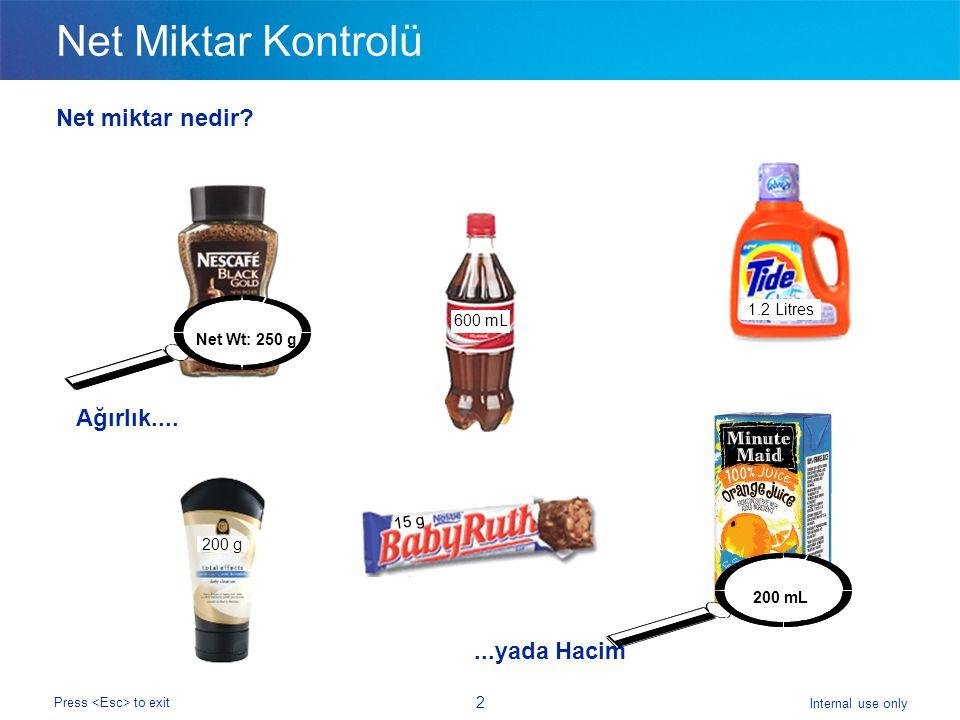 Internal use only Press to exit 2 Net Miktar Kontrolü Net miktar nedir.