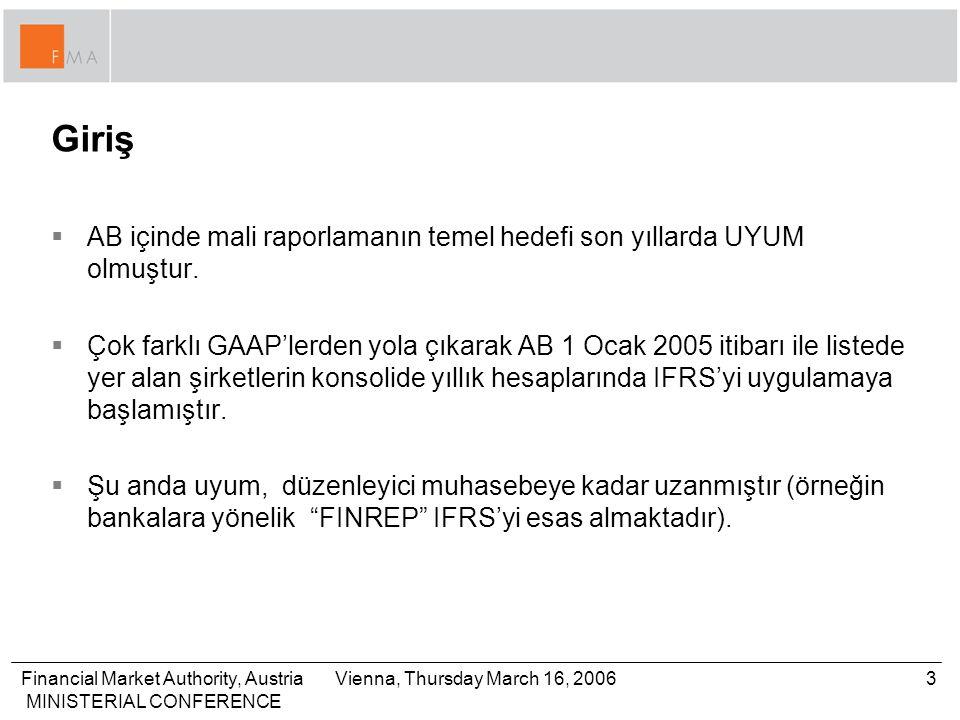 Financial Market Authority, Austria MINISTERIAL CONFERENCE 3Vienna, Thursday March 16, 2006 Giriş  AB içinde mali raporlamanın temel hedefi son yıllarda UYUM olmuştur.