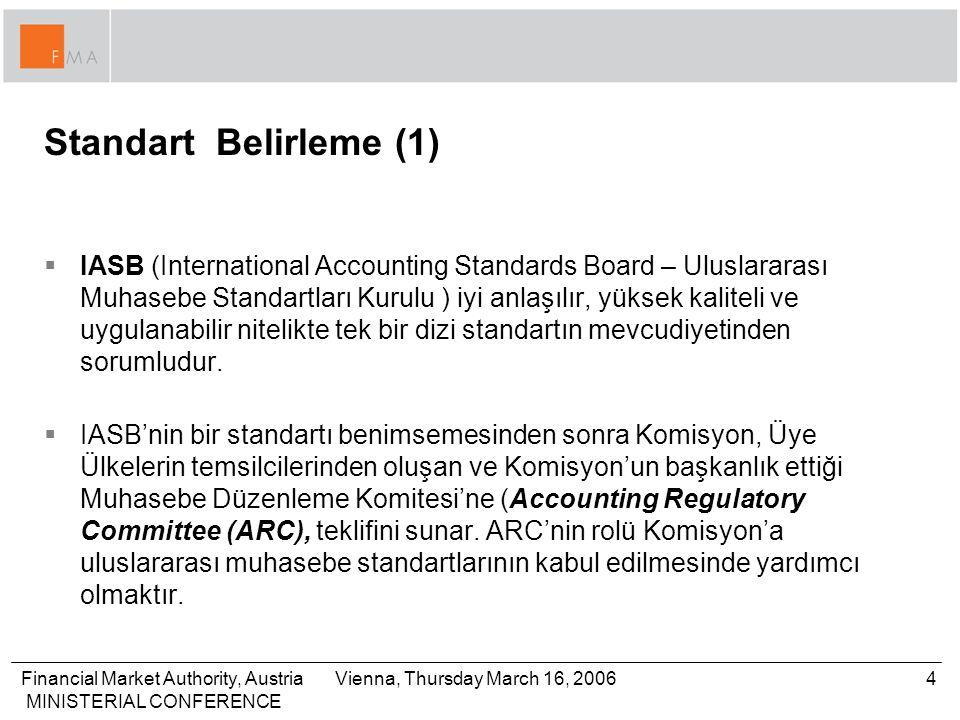Financial Market Authority, Austria MINISTERIAL CONFERENCE 5Vienna, Thursday March 16, 2006 Standart Belirleme (2)  İlke esaslı standartlara karşı kural esaslı standartlar –IFRS gibi ilke esaslı standartlar hazırlayanların, denetçilerin ve kullanıcıların tecrübelerine, hükümlerine ve bu standartları kendi şartlarında kullanabilmelerine dayalıdır.