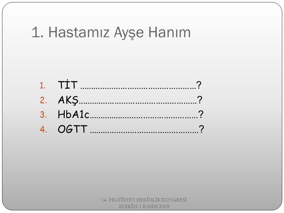 HbA1c Hemoglobin %97 HbA1 %2.5 HbA2 %0.5 HbF HbA1c %50 si önceki 1ay, %25 i 2 önceki ay, %25 i ise, önceki 3-4 ay 14.