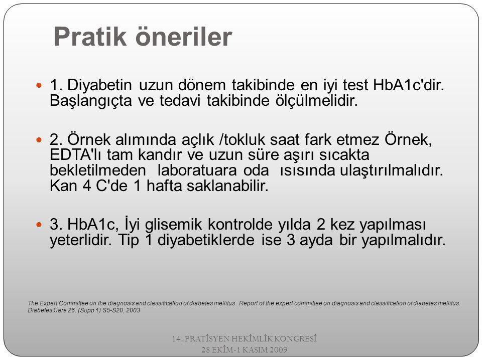 Pratik öneriler 1. Diyabetin uzun dönem takibinde en iyi test HbA1c'dir. Başlangıçta ve tedavi takibinde ölçülmelidir. 2. Örnek alımında açlık /tokluk