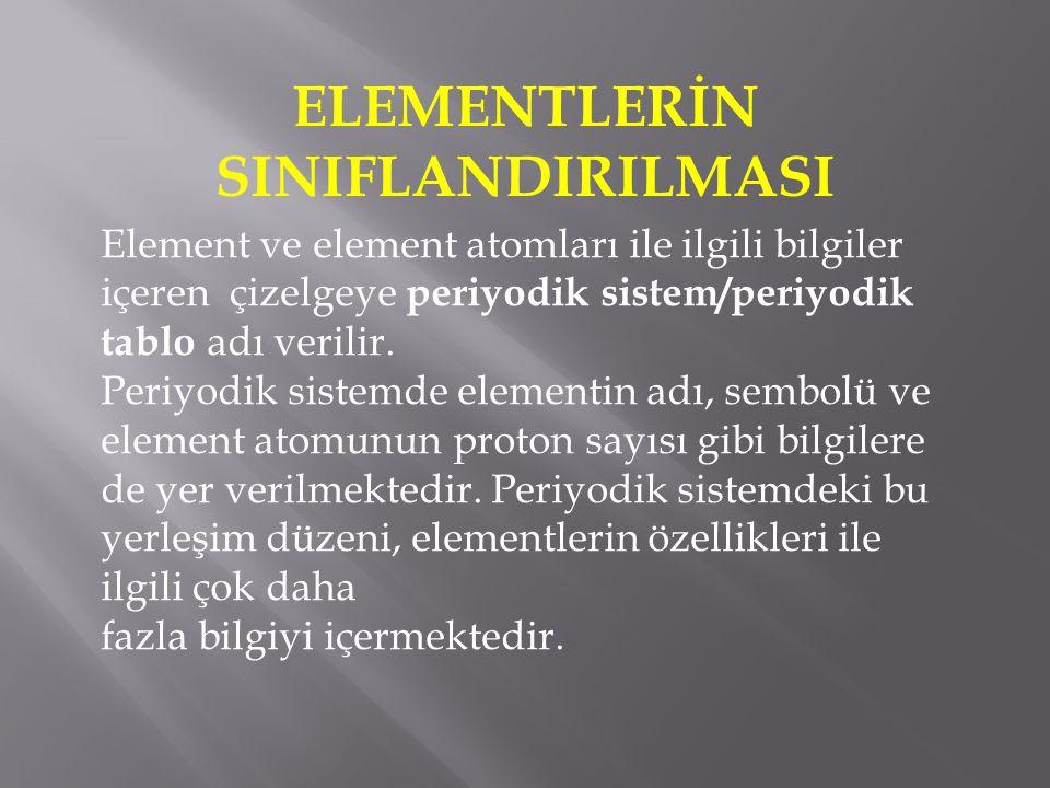 ELEMENTLERİN SINIFLANDIRILMASI Element ve element atomları ile ilgili bilgiler içeren çizelgeye periyodik sistem/periyodik tablo adı verilir. Periyodi