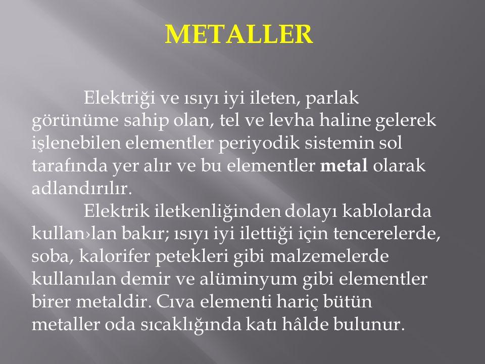 Metaller genellikle dayanıklı, ağır, parlak maddeler olarak tanımlanır.