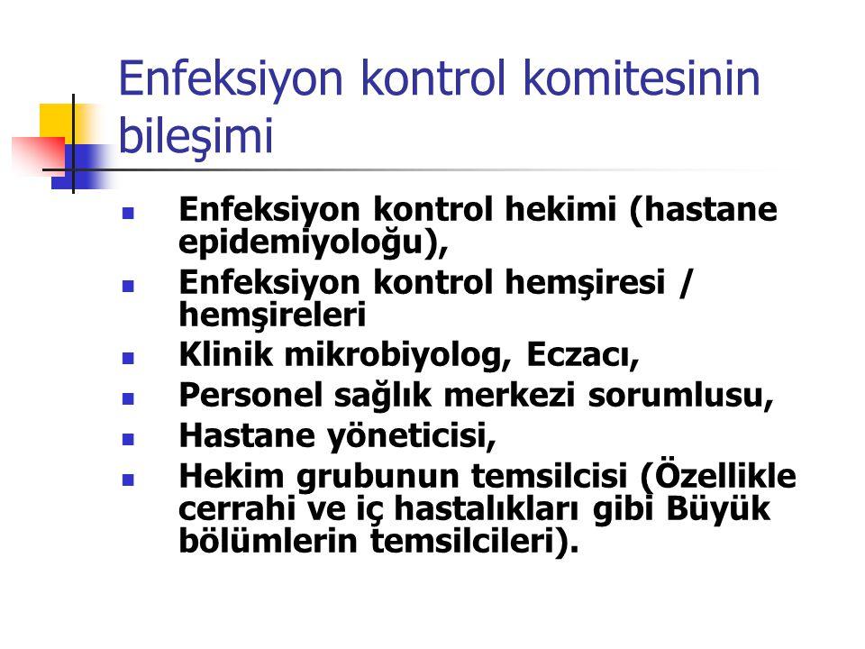 Enfeksiyon kontrol komitesinin bileşimi Enfeksiyon kontrol hekimi (hastane epidemiyoloğu), Enfeksiyon kontrol hemşiresi / hemşireleri Klinik mikrobiyo