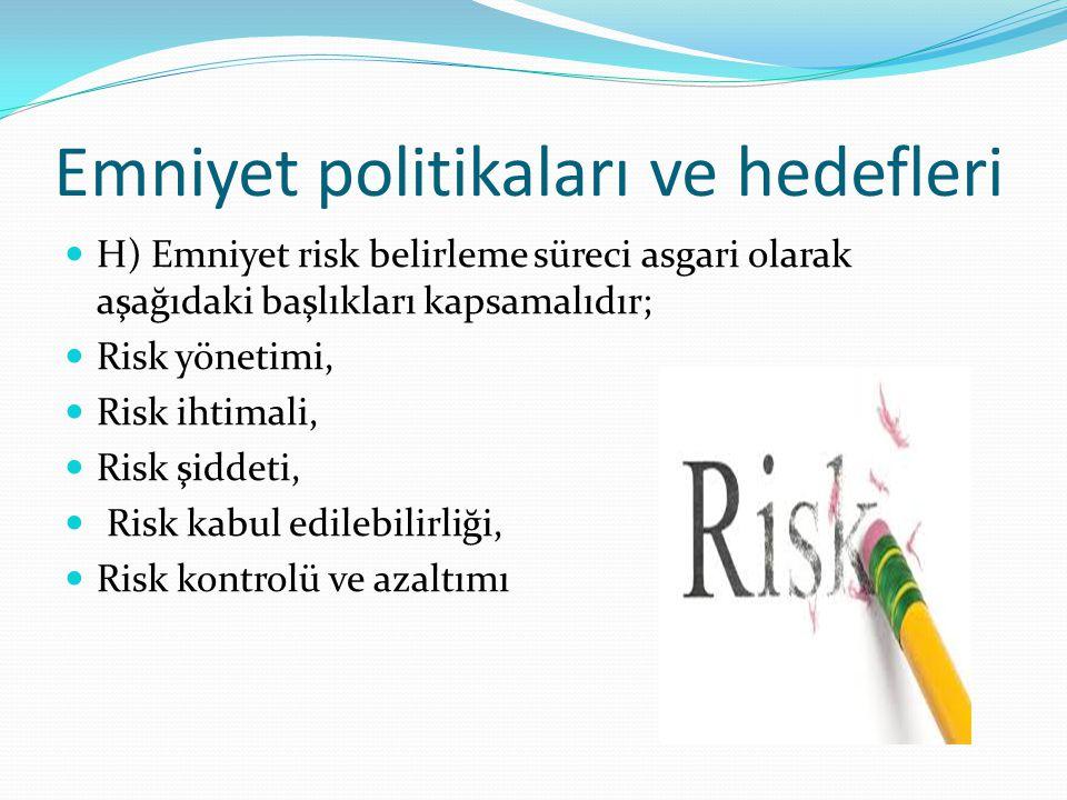 H) Emniyet risk belirleme süreci asgari olarak aşağıdaki başlıkları kapsamalıdır; Risk yönetimi, Risk ihtimali, Risk şiddeti, Risk kabul edilebilirliği, Risk kontrolü ve azaltımı Emniyet politikaları ve hedefleri