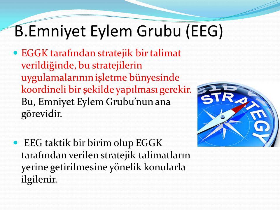 B.Emniyet Eylem Grubu (EEG) EGGK tarafından stratejik bir talimat verildiğinde, bu stratejilerin uygulamalarının işletme bünyesinde koordineli bir şekilde yapılması gerekir.